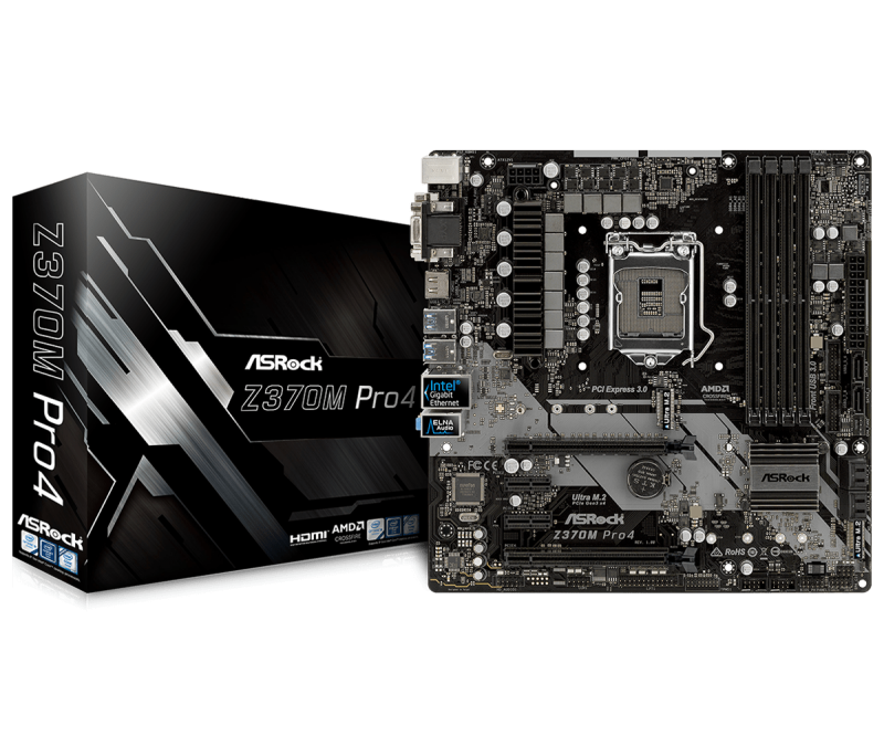 Дънна платка Asrock Z370M PRO4, сокет LGA1151 Coffee Lake
