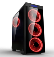 Кутия за компютър Makki Case ATX Gaming - MAKKI-8872-RED - 4x120mm RED double ring fans