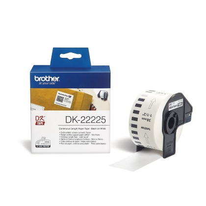 Brother DK-22225 White Continuous Length Paper Tape 38mm x 30.48m, Black on White