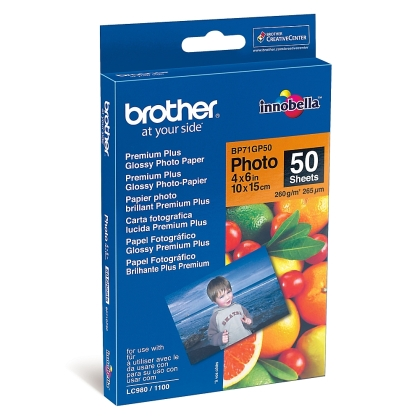 Brother BP71GP50 Premium Plus Glossy Photo Paper, A6 (4x6