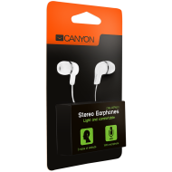 Stereo earphones with microphone, White