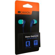 Stereo Earphones with inline microphone, Green+Blue