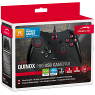 Speedlink QUINOX Pro USB Gamepad, 2 analog triggers, 2 bumpers and 10 digital buttons incl. Start and Back, 2 additional shoulder buttons, 4 additional buttons on the back, Detachable USB cable 2.4m, black