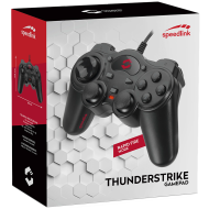 Speedlink THUNDERSTRIKE Gamepad - USB,8 front and 4 shoulder buttons, 8-way D-pad, 2 precise analogue sticks with button function, Cable: 1.7m, black