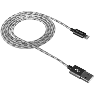 CANYON Lightning USB Cable for Apple, braided, metallic shell, 1M, Dark gray