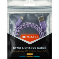 CANYON Lightning USB Cable for Apple, braided, metallic shell, 1M, Purple