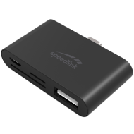 Speedlink PLECA USB-C 5-in-1 Card Reader, USB-C, USB-A or Micro-USB to TF/SD/SDHC/microSD/microSDHC memory cards, Plug & Play, 480Mbit/s, black HQ