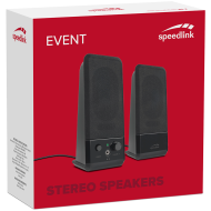 Speedlink EVENT Stereo Speakers, 5W RMS output power, USB-powered, Volume control,Direct headphone volume control on speaker set,3.5mm jack plug, black